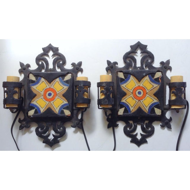 D&M Tile and Iron Wall Sconces - A Pair - Image 2 of 3
