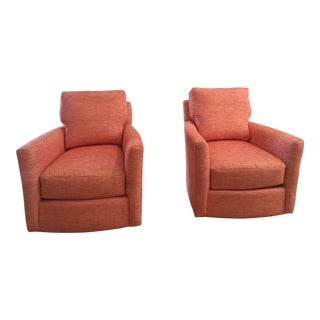 Red Murphey Swivel Chairs - A Pair