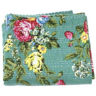 Green Floral Kantha Throw - A Full
