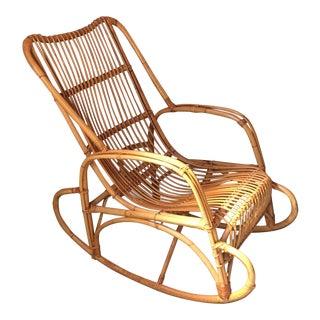 Vintage Rattan Bamboo Rocking Chair