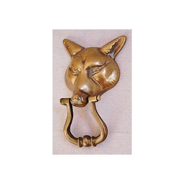 Vintage 1960s English Brass Fox Door Knocker - Image 3 of 7