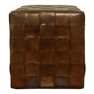 Leather Woven Pouf Ottoman Stool