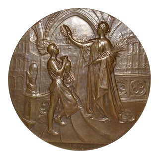 Royaume de Belgique Exposition Universelle de Bruxelles Bronze Medallion c.1910
