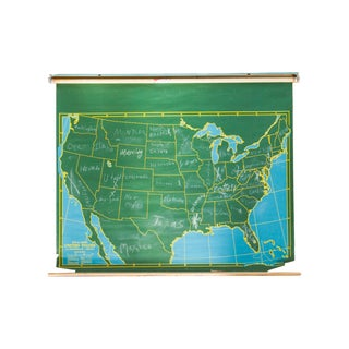 Mid-Century Chalkboard World Pull Down Map
