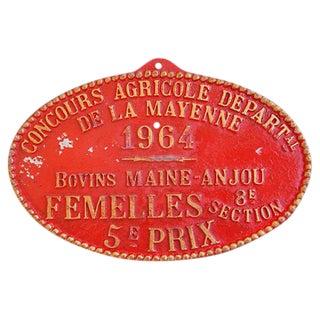 Vintage French Prize Trophy Award Plaque, 1964