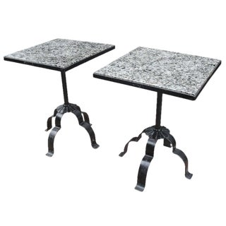 Pair of Wrought Iron & Granite Occasional Tables