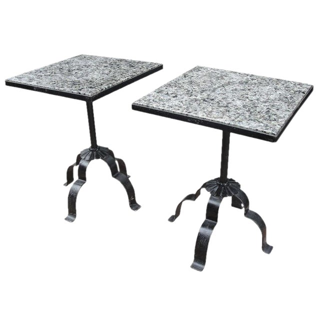 Image of Pair of Wrought Iron & Granite Occasional Tables