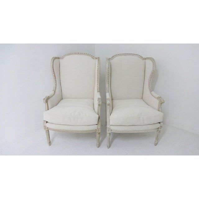 Antique Bergere Wingback Chairs - A Pair - Image 8 of 8