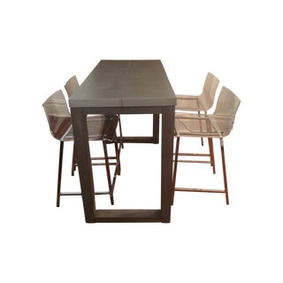 Counter Table & Acrylic Counter Stools Dining Set