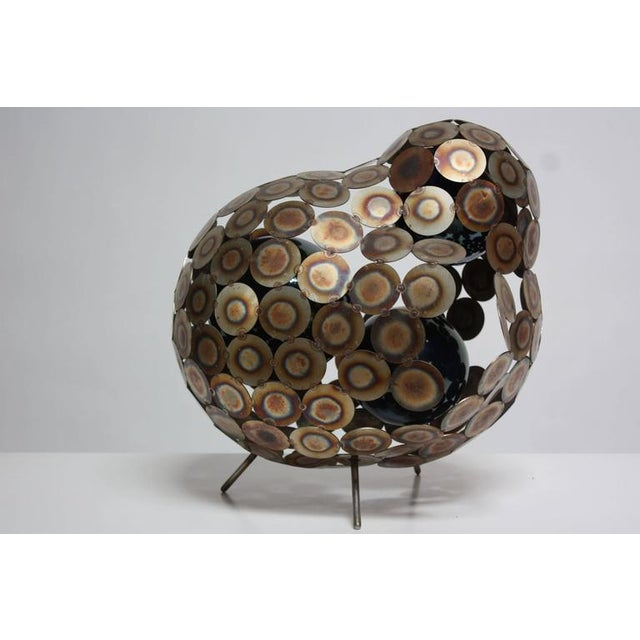 Image of Steel and Enameled Porcelain Abstract Brutalist Table Sculpture