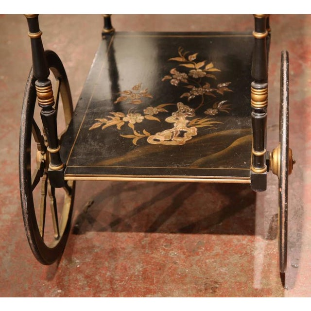 Early 20th Century French Chinoiserie Hand Painted Bar Cart - Image 7 of 10