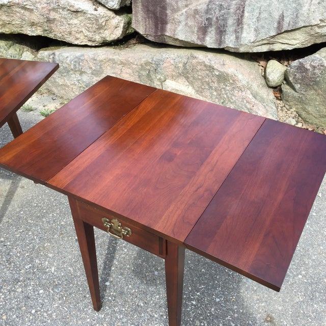 Cherry Drop Leaf End Tables - A Pair - Image 5 of 11