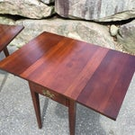 Image of Cherry Drop Leaf End Tables - A Pair