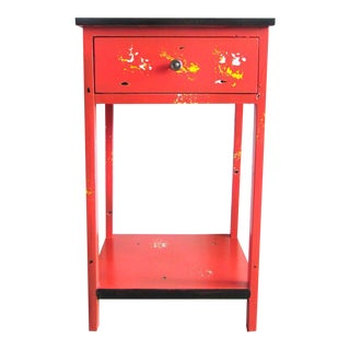 Orange Single Drawer Side Table