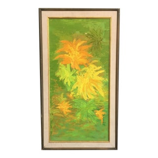 Vintage Abstract Oil on Board Floral Painting