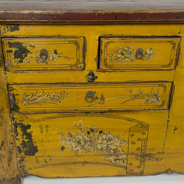 Antique Yellow Red Carved Cabinet - Image 4 of 4