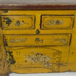 Image of Antique Yellow Red Carved Cabinet