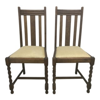 English Barley Twist Oak Chairs - A Pair