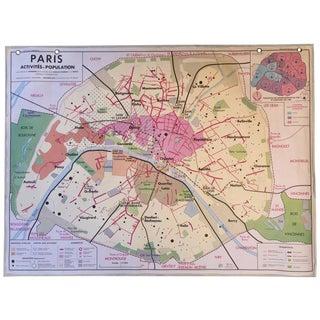 Mid-Century 1970s Oversized Map of Paris