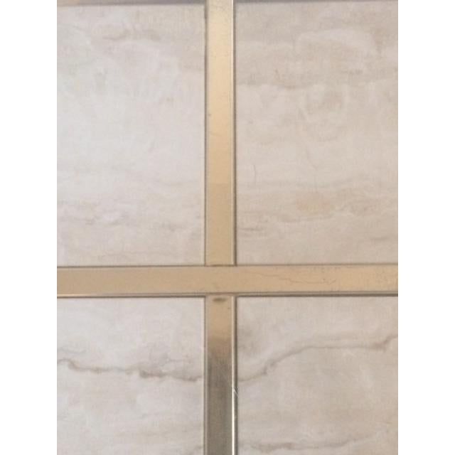 Brass & Glass Travertine End Table - Image 6 of 7