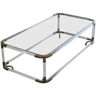 Perspex and Metal Coffee Table with Glass