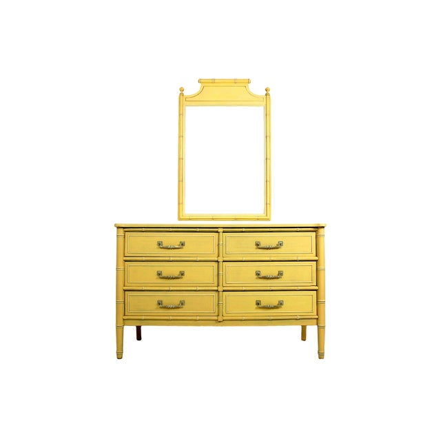Image of Soft Yellow Vintage Faux Bamboo Dresser W/ Mirror