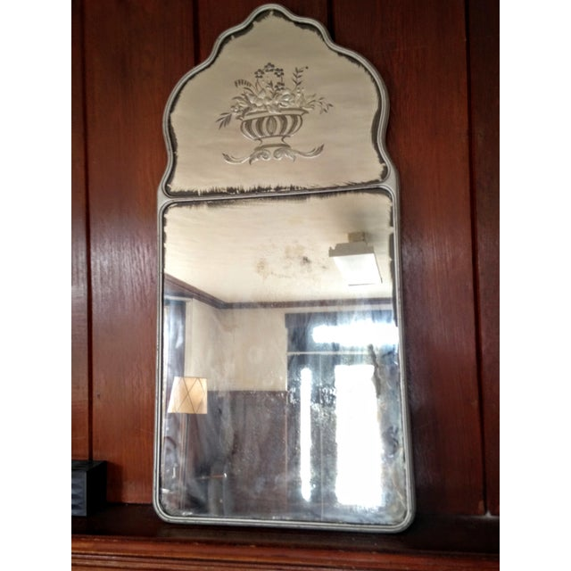 Large Vintage Etched Wall Mirror - Image 7 of 11