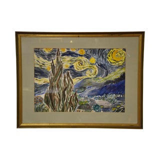 Starry Night Water Color Painting