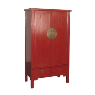 Chinese Ming-Style Red Lacquer Cabinet Armoire
