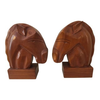 Mid-Century Modern Carved Wood Horse Bookends