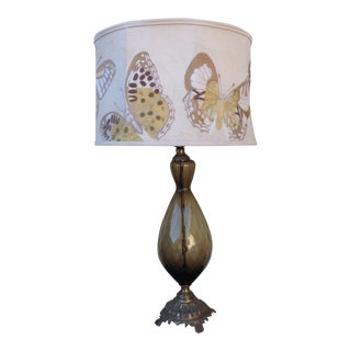 Mid Century Topaz Lamp & Anthropologie Embroidered Butterfly Shade
