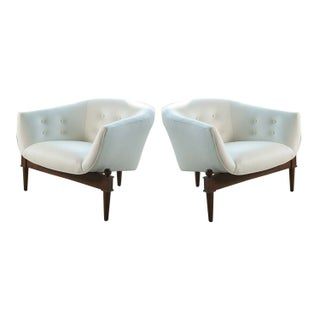 White Leather Mid-Century Style Chairs - A Pair