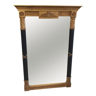 Neoclassical Fluted Sheraton Black & Gold Leaf Carvers Guild Mirror