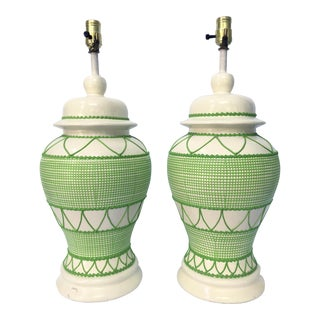 Green & White Hollywood Regency Table Lamps - A Pair