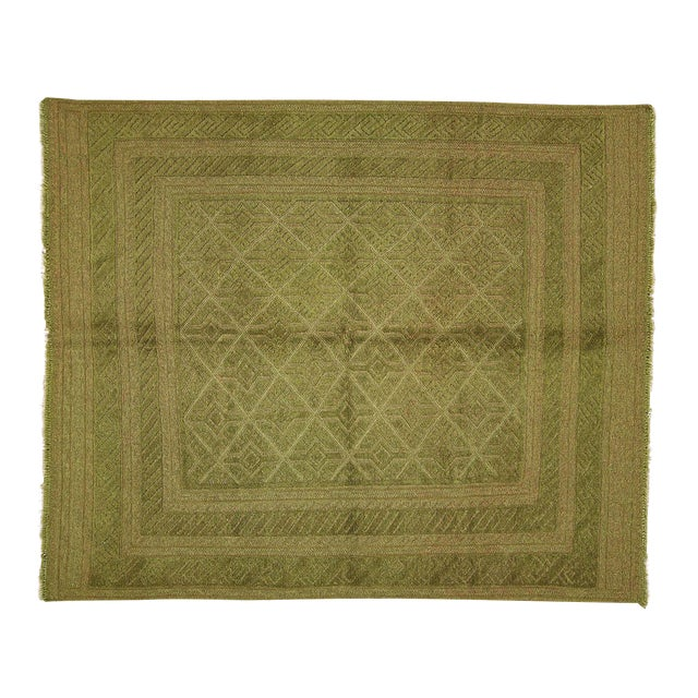 "Overdyed Green Handmade Rug - 4'10"" x 6' - Image 1 of 8"