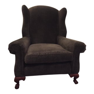 Lillian August Dark Grey Chenille Rollarm Wingback Chairs - Pair