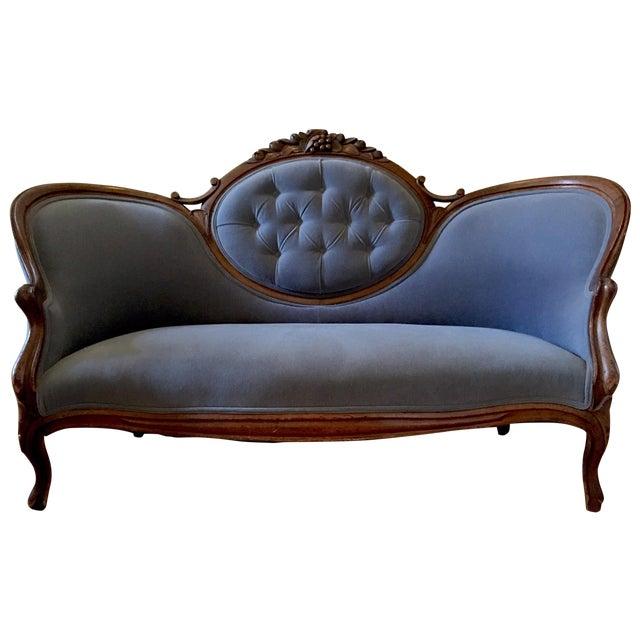 Blue Velvet Victorian Walnut Frame Sofa - Image 1 of 5