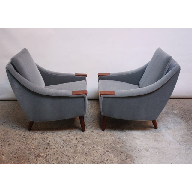 Pair of Danish Modern Teak and Mohair Lounge Chairs - Image 2 of 11
