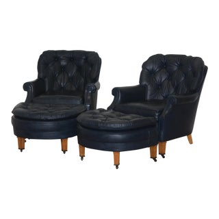 Vintage Tufted Leather Navy Blue Chairs With Ottomans by Classic Leather Co. - a Pair