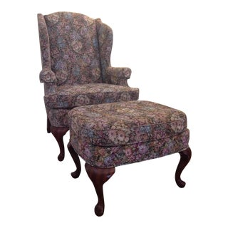 Drexel Traditional Classics Wing Chair and Ottoman