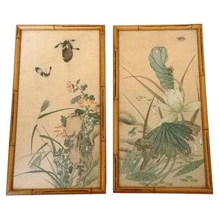 Japanese Watercolor Paintings - A Pair