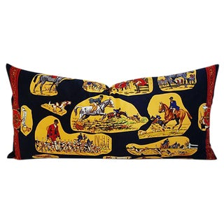 Gianni Versace Silk English Horse & Hunt Pillow