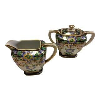 Japanese Noritake Porcelain Creamer & Sugar Bowl