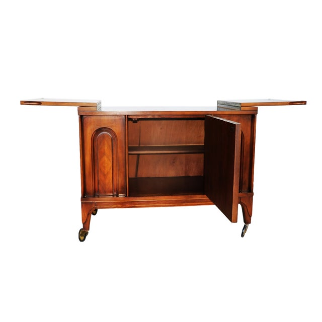 Mid Century modern Walnut Flip Top Bar Cabinet - Image 5 of 7