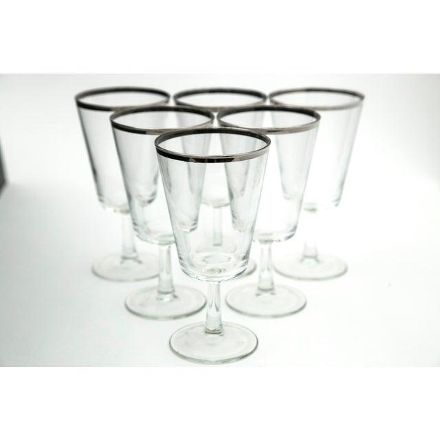 Modern Silver Rim Glass Goblets - Set of 6 - Image 2 of 5