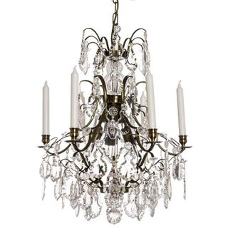 Baroque Chandelier, 6 Ebony Pendeloque
