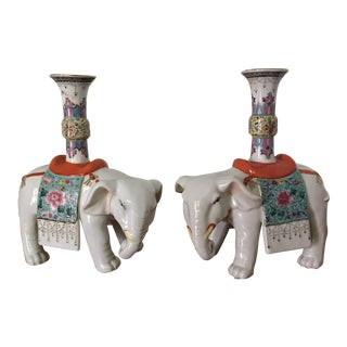 Ornate Elephant Candle Holders - A Pair