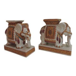 Vintage Elephant Ceramic Sculptures - a Pair