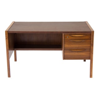 Jens Risom Walnut Desk with Leather Top