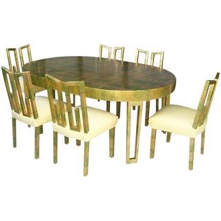 A James Mont Camouflage Gold Leaf Dining Room Set